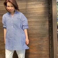 ギンガムチェックビーズシャツ /L004