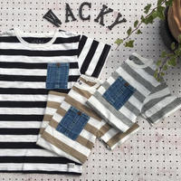 Jr.DENIM POCKET BORDER T(150-160)/Ocean&Ground'19SS/1916159