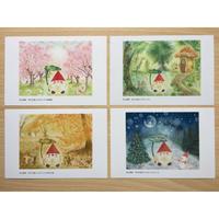 幸せを運ぶコロポックルシリーズ ポストカード4枚セット(春夏秋冬)