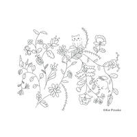 【 For Free 】free coloring downloads お花と猫とウサギの塗り絵