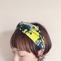 cross turban / paint yellow × dark gray / ペイント柄  ヘアバンド