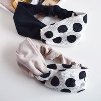 【柄×無地】ripple dot × black or beige/ リップル ドット柄  /クロスターバン ヘアバンド