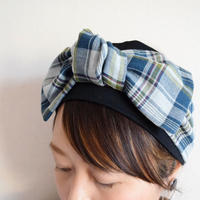 check ribbon turban / darkGR or  navy