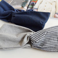 gingham gray or navy / cross hairband