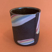"Knotwork LA ""RAINBOW ON DARK SKY HANDLELESS MUG"" B"