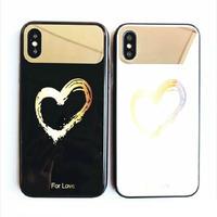 iPhone7 iPhone8 対応 ケース ミラー付き 自撮り ハート ペア  鏡付き (ブラック/ゴールド)