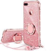 iPhoneケース リング ストラップ付きケース キラキラ かわいい おしゃれ (ピンク)