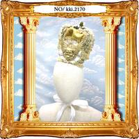 kki.2170 アンティークベージュウィングスカル王冠。