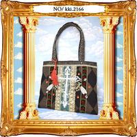 kki.2166 十字架と蜂のトートBAG。<ブラック>