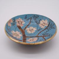 和紙焼 桜のお皿  (青)
