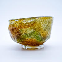 風遊の泡ガラス 岩流 抹茶碗A