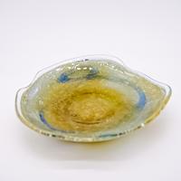 風遊の泡ガラス 岩流 7寸皿(A)宙吹ガラス工房風遊