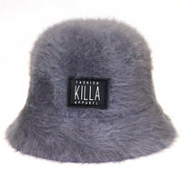 RUBBER BOX LOGO  RABBIT FUR HAT GRAY