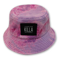 RUBBER BOX LOGO  TIE-DYE BUCKET HAT PURPLE/PINK
