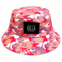 NEW RUBBER BOX LOGO BUCKET HAT  PINK CAMO