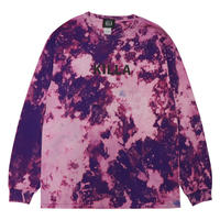 ESSENTIAL BIG LOGO L/S TEE TIE DYE LIME BLEACH PURPLE