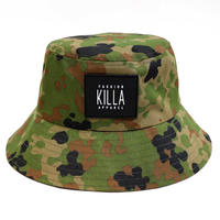 NEW RUBBER BOX LOGO BUCKT HAT GREEN CAMO