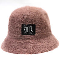 RUBBER BOX LOGO  RABBIT FUR HAT BROWN