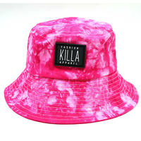 RUBBER BOX LOGO  TIE-DYE BUCKET HAT PINK
