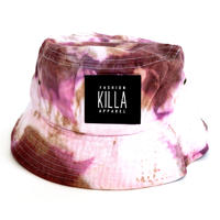 RUBBER BOX LOGO  TIE-DYE BUCKET HAT TIE-DYE PURPLE