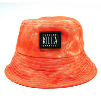 RUBBER BOX LOGO  TIE-DYE BUCKET HAT ORANGE