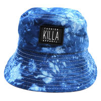 RUBBER BOX LOGO  TIE-DYE BUCKET HAT BLUE