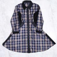 200218チェックシャツワンピース(ネイビー)