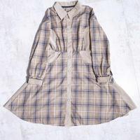 200218チェックシャツワンピース(ベージュ)