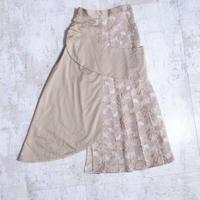 200214ジャカードプリーツラップスカート(ベージュ)