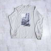 200204モックネックプリントTシャツ(ベージュ)