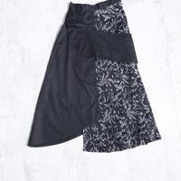 200214ジャカードプリーツラップスカート(黒)