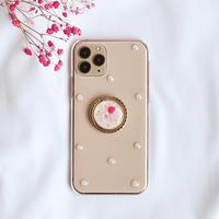 赤紫とピンクのかすみ草のスマホリング付きケース  iPhone全機種対応