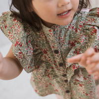 【 melenani 】frill blouse -flower x coral-