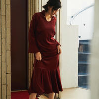 【 HOUGA 】velour long dress