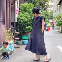 【 Ruimeme 】Frill Sleeve Linen dress -Black-