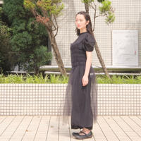 【 UNIONINI 】tulle shirring long dress
