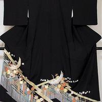 【黒留袖】正絹比翼/松皮取りに花車 鶴☆152cm前後の方ベストサイズ【美品】