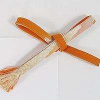 【未使用】正絹 帯締め 切房 高麗 手組紐☆オレンジ暈し【メール便可】