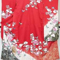 【振袖】正絹 綸子/枝桜に御所車 梅に蝶/赤/154cm前後の方【美品】