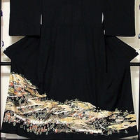 【黒留袖】正絹 比翼(上等化繊)/御所絵巻文様☆153cm前後の方ベストサイズ【超美品】