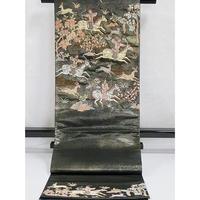 【錦 袋帯】高級 黒地 引き箔に狩猟文様【美品】お薦めです