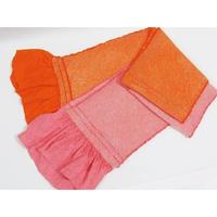 【帯揚げ 2枚セット】正絹 絞り無地帯揚げ/朱赤 ピンク【お値打ち】