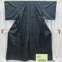 リユース【大島紬 OT-00002】グレー紺地 飾り柄  身丈159cm 裄丈61.5cm