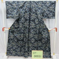 リユース【大島紬 OT-00031】濃グレー地 葉柄  身丈160cm 裄丈66cm