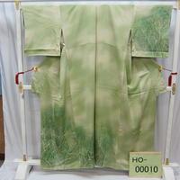 リユース【訪問着】薄グリーン 森林【HO-00010】身丈155cm 裄丈67cm