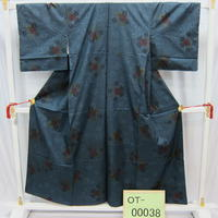 リユース【大島紬 OT-00038】紺地 菊柄  身丈152cm 裄丈64cm