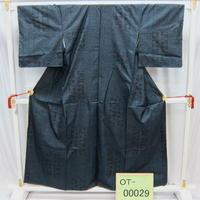 リユース【大島紬 OT-00029】グレー紺地 葉柄  身丈154cm 裄丈62cm