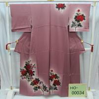 リユース【訪問着】紫 薔薇【HO-00034】身丈159.5cm 裄丈64cm