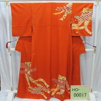 リユース【訪問着】オレンジ 几帳【HO-00017】身丈161cm 裄丈65cm