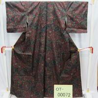 リユース【大島紬 OT-00072】濃グレー地 変り花柄  身丈163cm 裄丈62.5cm